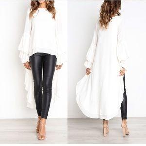 WHITE Dip Hem Blouse 👀 - A Fashionista Look